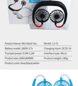 Hanging Neck Portable Mini USB Charging Sports Fan