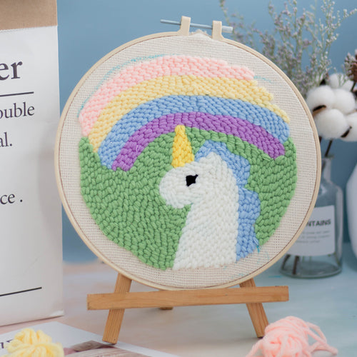 DIY Punch Needle Embroidery Kit-Rainbow Unicorn
