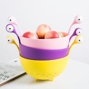 Monster Big Eyes Spaghetti Bowl Draining Basket Kitchen Storage Bag