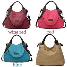 Load image into Gallery viewer, Large Pocket Casual Handbag Shoulder Cross body Canvas Bags