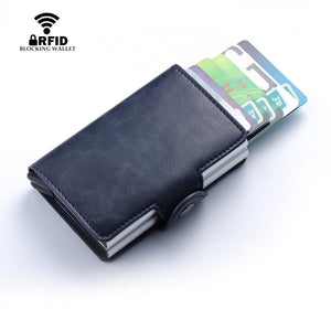 Credit Card Holder Metal RFID Aluminium Box Crazy Horse Leather Card Wallet