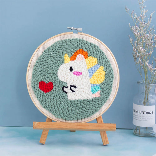 DIY Punch Needle Embroidery Kit-Love Heart Unicorn