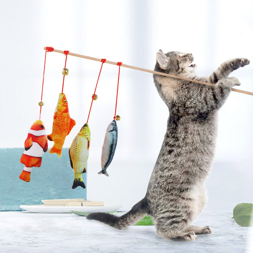 Bell Simulation Fish Funny Cat Stick