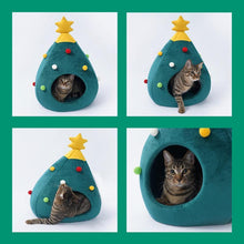 Load image into Gallery viewer, Christmas Tree Pet House Semi Closed Soft Kitty Bed