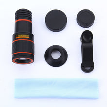 Load image into Gallery viewer, Universal Mobile Phone Lens Clip 12x Optical Zoom Telescope Lens Smartphone Camera Lens