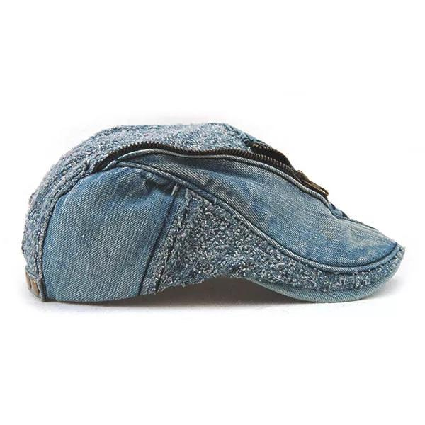 aa68e7ee ... Load image into Gallery viewer, Unisex Cotton Denim Jeans Washed Beret  Hat Zipper Decorative Cabbie ...