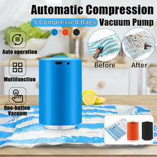 Load image into Gallery viewer, Portable Mini Electric Air Pump Travel Compression Bag USB Charging Vacuum Pump Air Extractor with 5pcs Bags