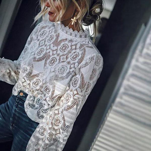 Women Long Sleeve Sexy Lace Solid Color Blouses