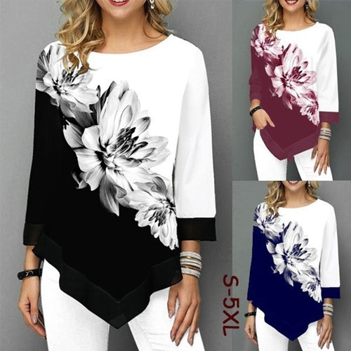 Women Round Neck Printed Irregular Hem Long Sleeve T-Shirts