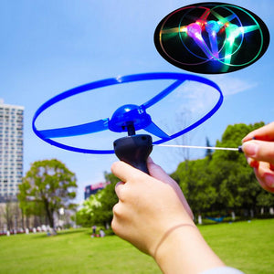 Pull Line Flash Flying Saucer Children's  Toy