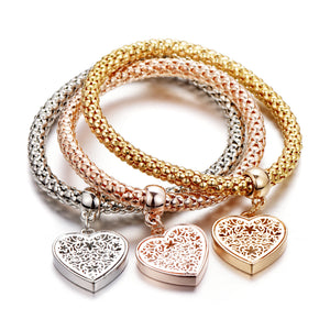 Ethnic Love Heart Charm Bracelets Vintage Jewelry - 1 Set of 3 Bracelets