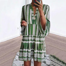 Load image into Gallery viewer, Bohemian V Neck 3/4 Sleeve Dresses