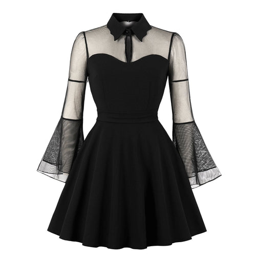 Plus Size Women's Holiday Black Queen Stitching Dress