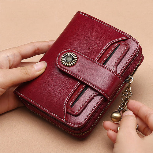 Women Genuine Leather Mini Multifunctional Card Slots Wallet