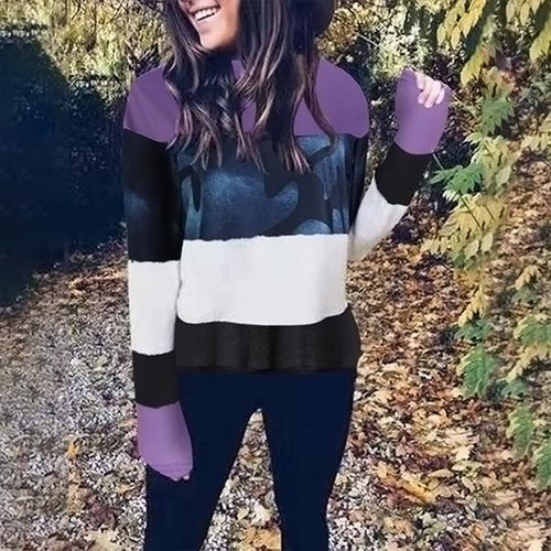 Casual Color Block Stripe Sweaters
