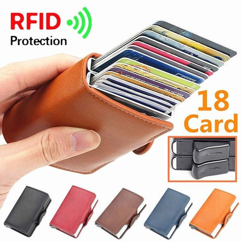 18 Card Slot RFID Double Aluminum Box Automatically Wallet Card Holder