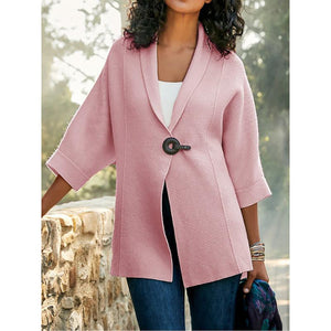 Solid Color Lapel Loose Knitting Cardigan