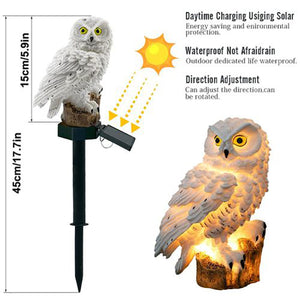 2PCS Solar Powered LED Warm White Light Stand Owl Outdoor Garden Landscape Path Yard Lamp