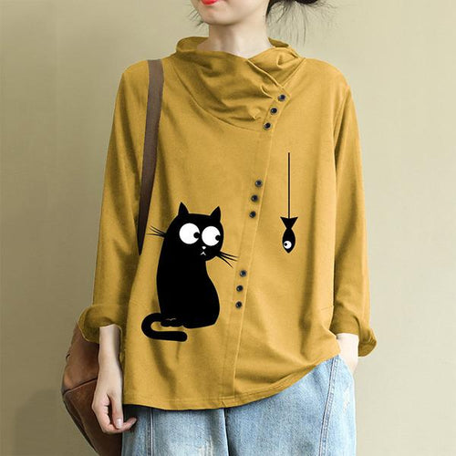 Casual Cat Print Button Turtleneck Overhead Sweatshirt