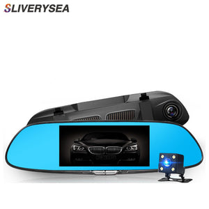 7 Inches Touch Screen Car DVR HD 1080P Dual Lens Vehicle Rearview Mirror Camera Recorder