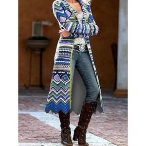 Plus Size Long Sleeve Geometric Outerwear