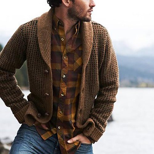 Men Solid Color Long Sleeve Cardigans Coats