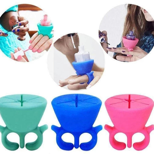 Flexible Durable Multi Wearable Nail Polish Bottle Holder Ring