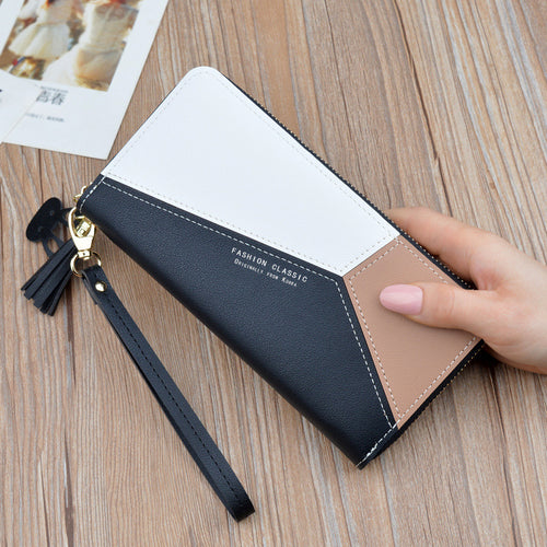 Women Fashion Color Block Tassel Casual Long Wallet