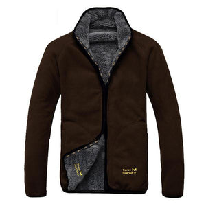 Mens Fleece Thick Warm Winter Stand Collar Jacket