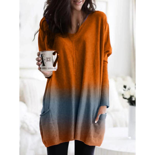 Gradient V Neck Pocket Casual Long Blouse