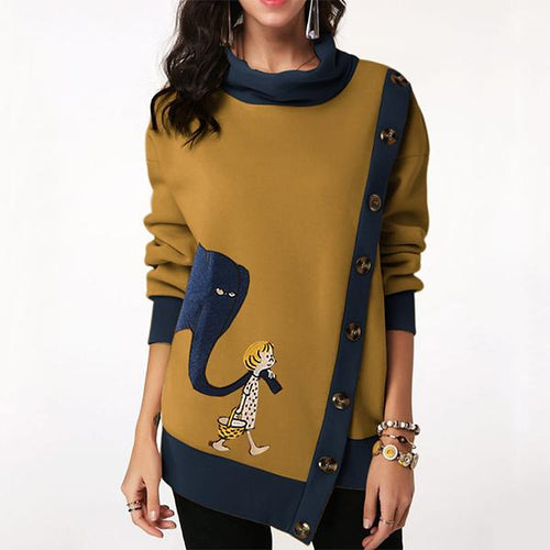 Casual Print Cartoon Side Button Patch Sweatshirt