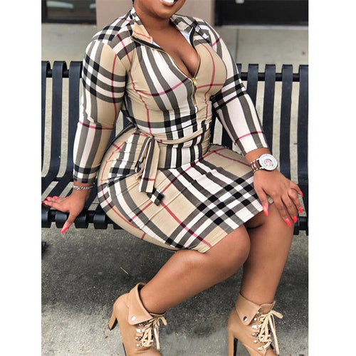 Women Sexy V Neck Plaid Long Sleeve Casual Dress