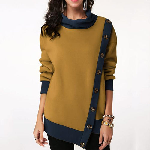 Women Casual Solid Color Side Button Patch Sweatshirt