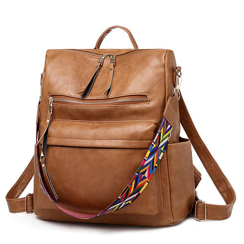 Women Retro Vintage PU Leather Backpack Solid Color Fashion Bags
