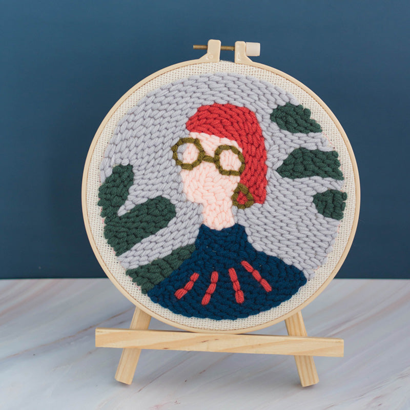 DIY Punch Needle Embroidery Kit-Girl with Short Hair
