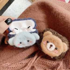 Simple Cute Cartoon Bear Elephant Earphone Case For Airpods