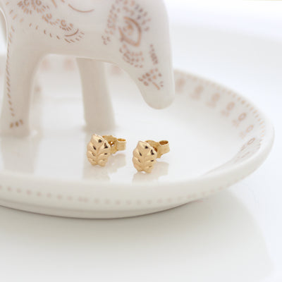 Gold Leaf Stud Earrings