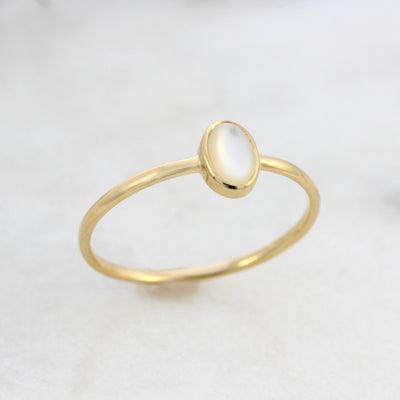 14k Gold Mother of Pearl Ring