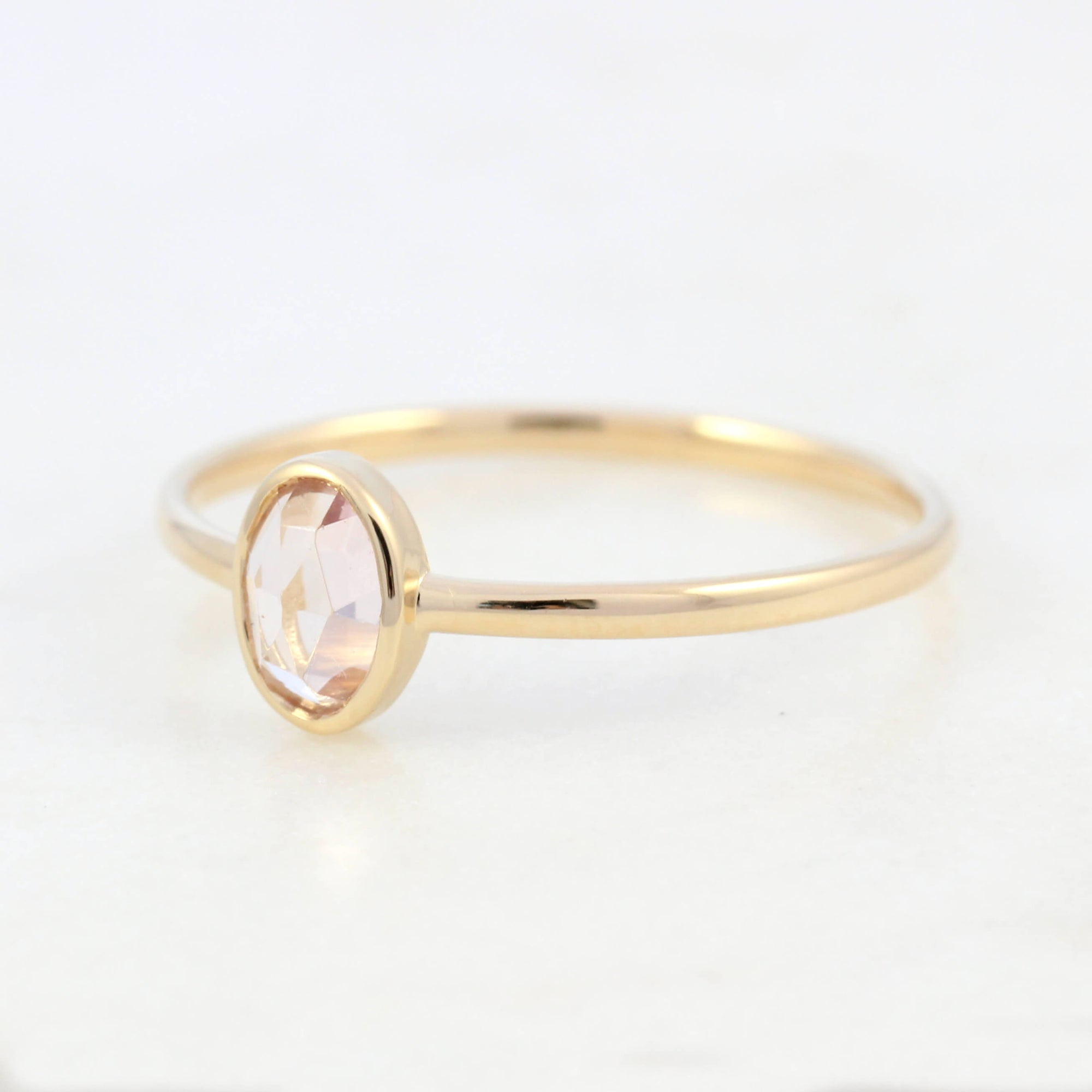 14k Gold Oval Tourmaline Ring