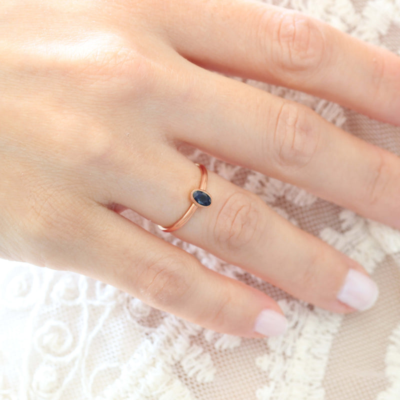 14k Rose Gold Oval Sapphire Ring