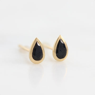 14k Solid Gold Sapphire Studs