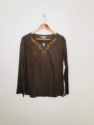 Khaki tunic top with golden embroidered safari animals