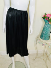 Load image into Gallery viewer, Vintage black half slip with lace trim