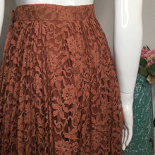 Load image into Gallery viewer, 1950s Vintage Lace Floral Midi  Skirt