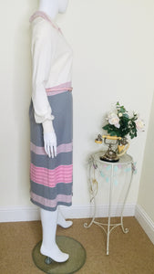 70s vintage midi dress with collar
