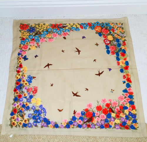 Vintage floral and bird print border scarf