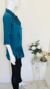 90s Vintage Turquoise Indian Tunic Top