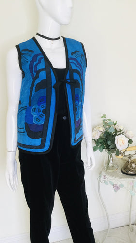 Vintage silk quilted floral waistcoat