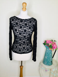 Black floral lace top with long sleeves