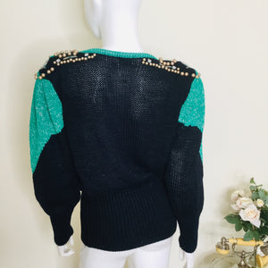 80s Navy and Green Embellished Sweater